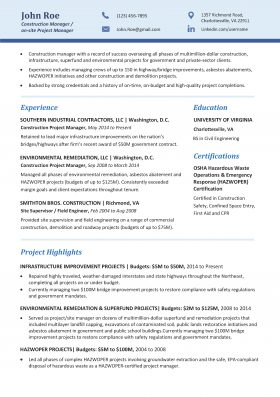 Construction Manager Resume Template