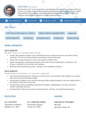 Data Scientist Resume Template