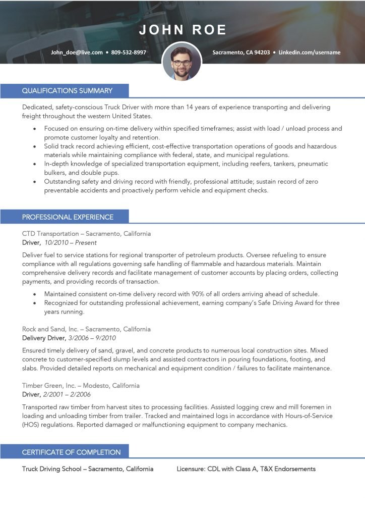 Truck Driver Resume Template